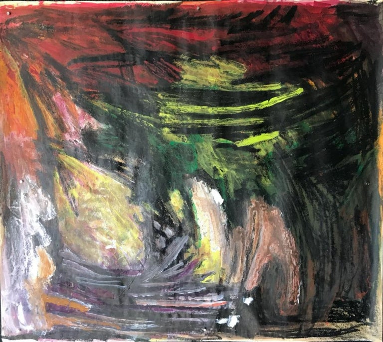 """Gloria Dudfield Abstract Drawing - Mid Century """"Red at Top"""" Gouache and Oil Pastel Abstract Bay Area Female Artist"""