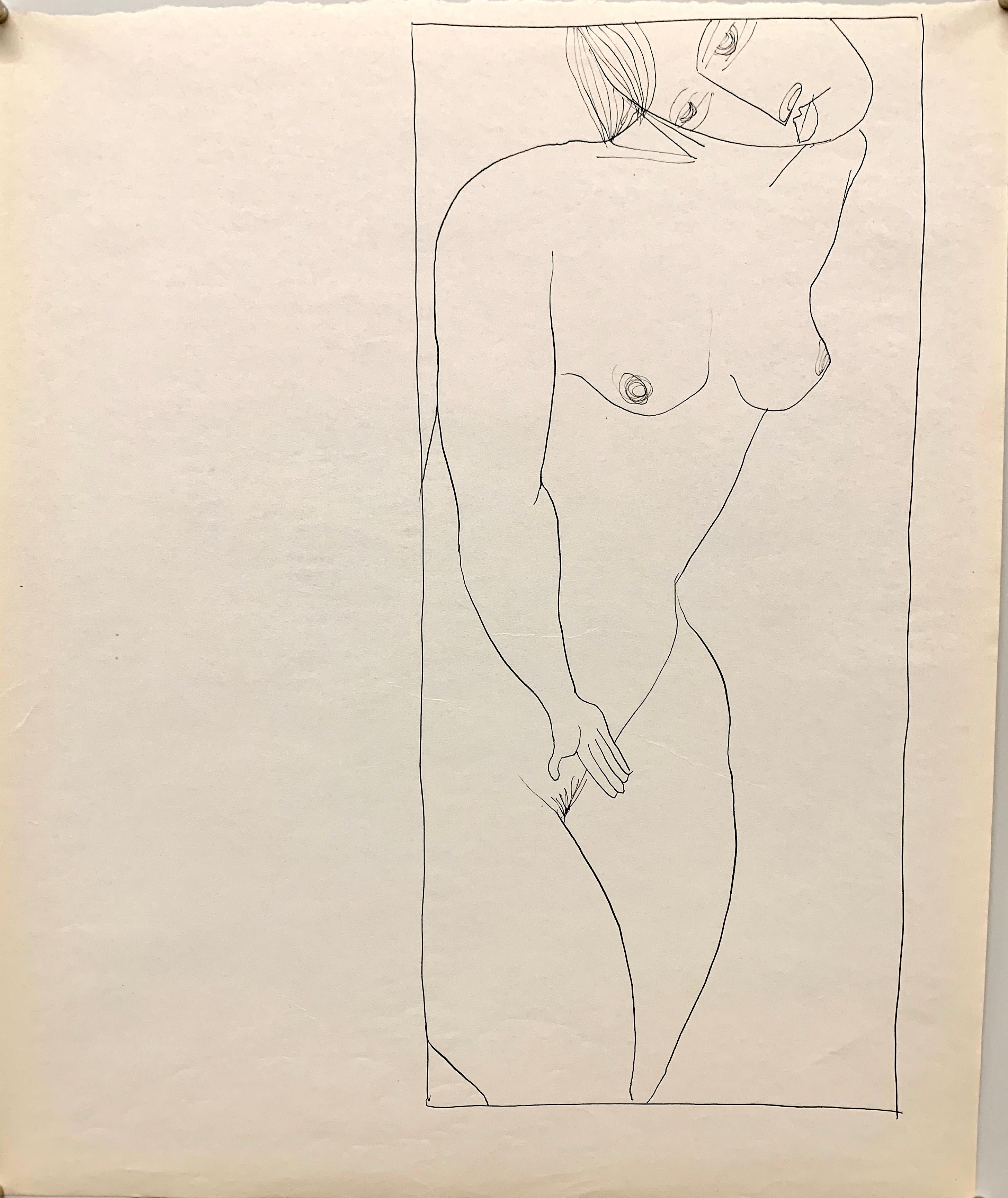 "1950s ""Head Tilt"" Mid Century Figurative Ink Drawing The Art Students League"
