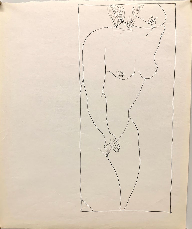 """Donald Stacy Nude - 1950s """"Head Tilt"""" Mid Century Figurative Ink Drawing The Art Students League"""