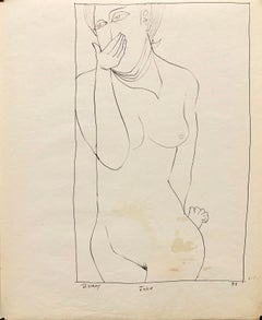 "1950s ""Joke"" Mid Century Figurative Ink University of Paris"