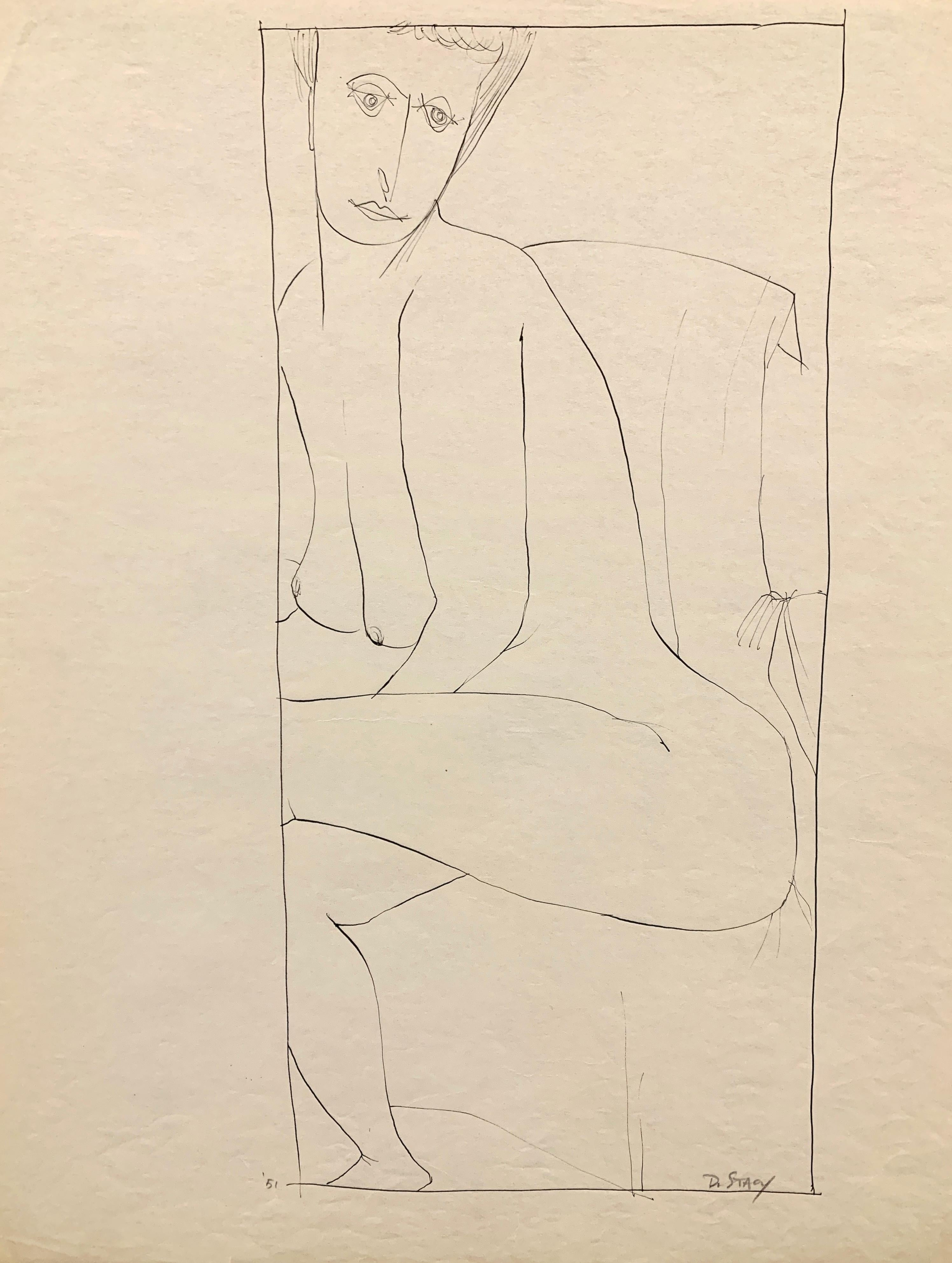 """1950s """"Looking Over Shoulder"""" Mid Century Figurative Ink Drawing NYC Artist"""