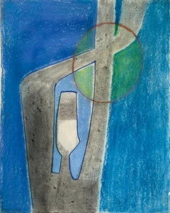 """1970s  """"Abstract Blue Figure"""" Pastel Drawing Benoit Gilsoul"""