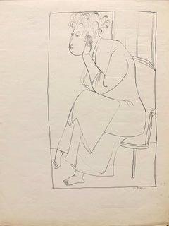 "1950s ""Morning Robe"" Mid Century Figurative Ink Original Drawing"