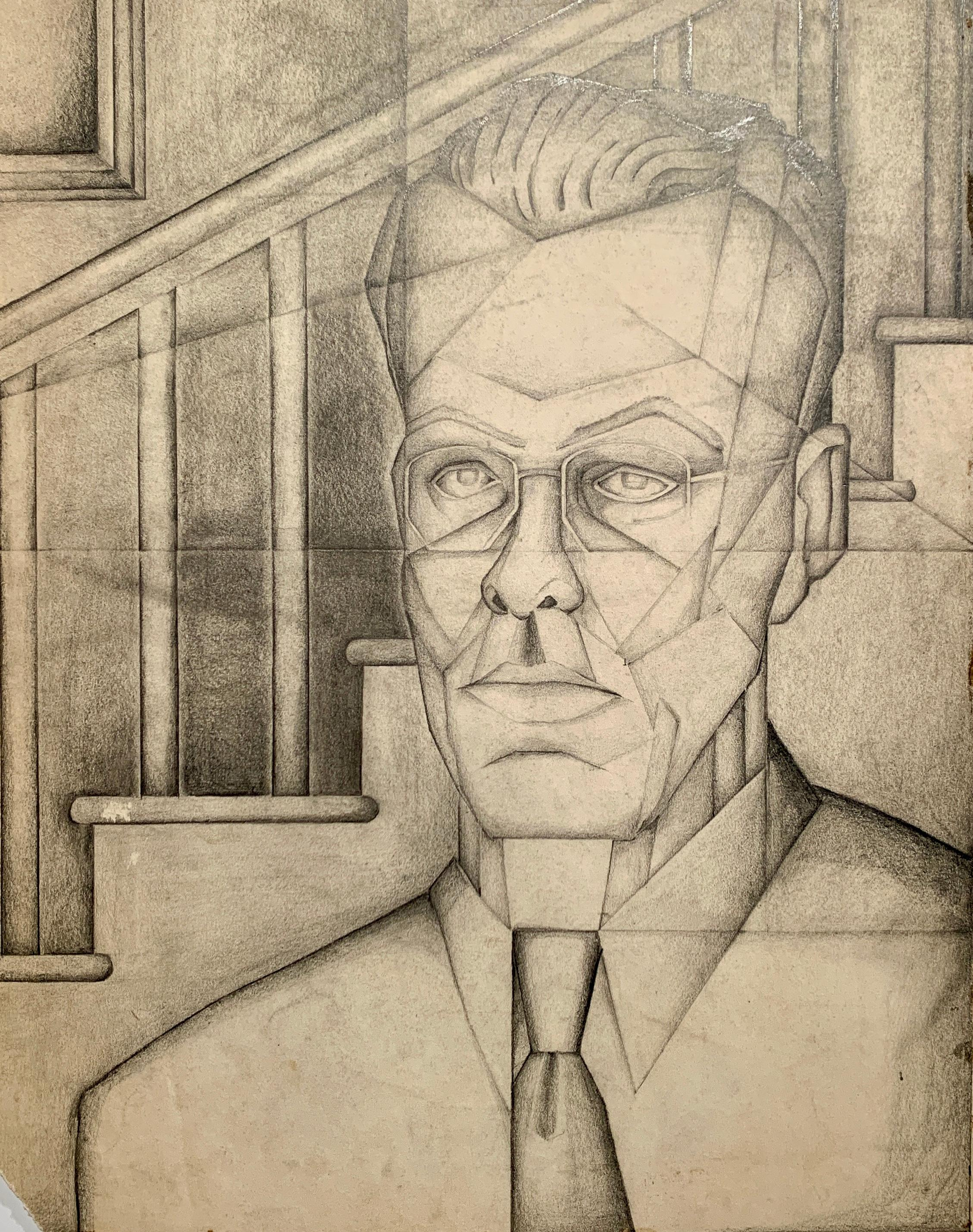 1940s Charcoal and Pencil Portrait of a Man