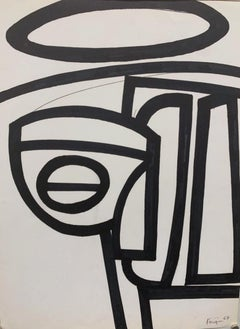 """1967 """"Abstract 4"""" Ink Brush Drawing NYC Artist Michael Knigin Mid Century"""