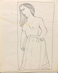 """1950s """"Topless"""" Mid Century Figurative Ink Line Drawing"""