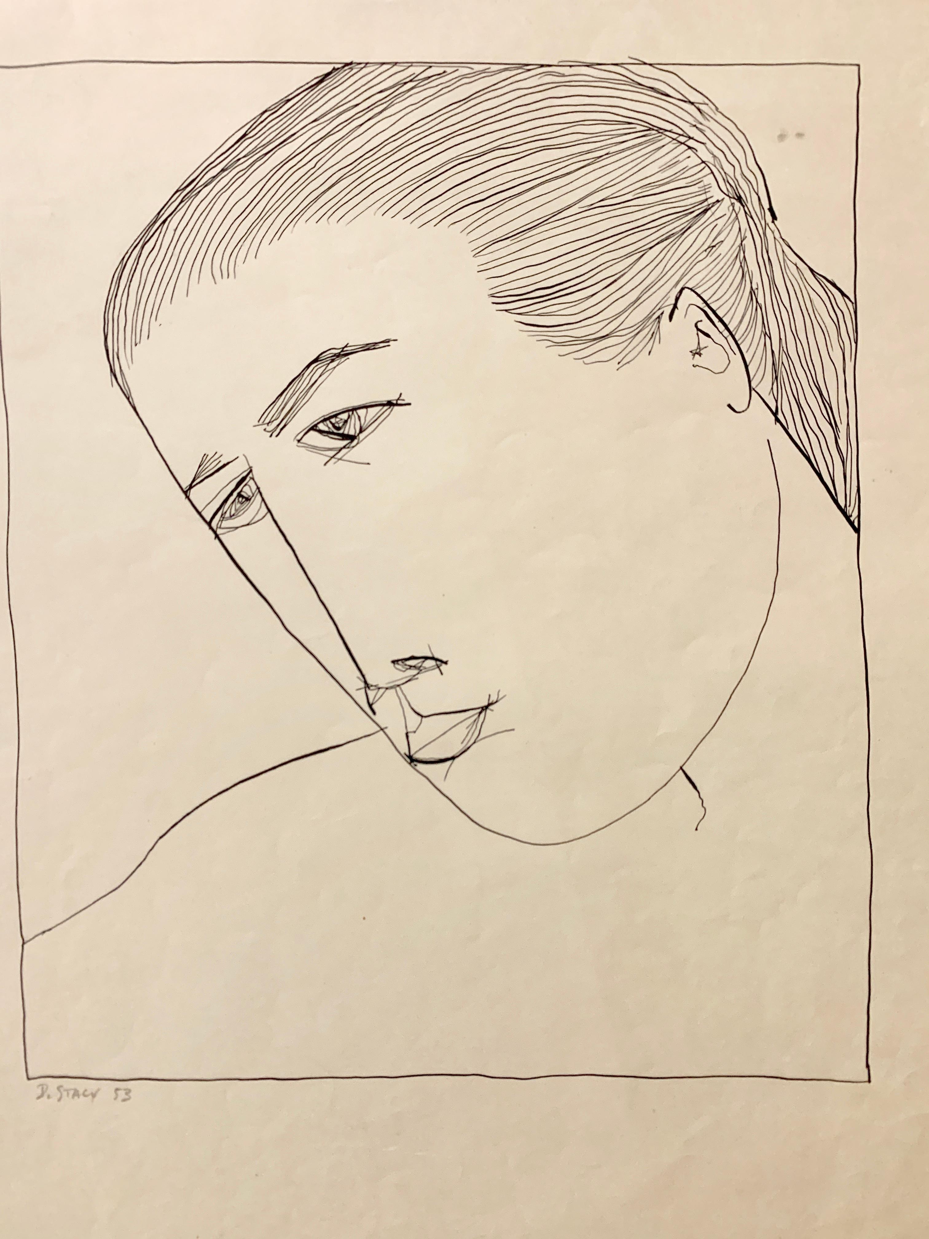 "1950s ""Upclose Portrait"" Mid Century Ink Portrait Drawing Pratt"