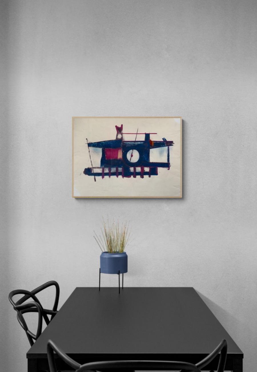 "1970s ""Machine"" Abstract Pastel Drawing Benoit Gilsoul"