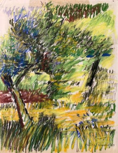 """1964  """"Tree with Blue"""" Pastel Impressionist Landscape Drawing NYC Female Artist"""