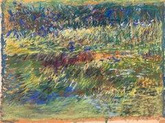 "1963 ""Pond"" Pastel Impressionist Landscape Drawing NYC Female Artist"