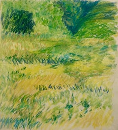 """1960s """"Bright Yellow"""" Pastel Impressionist Landscape Drawing NYC Female Artist"""