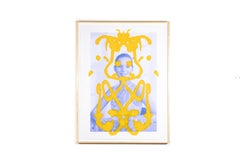 Kate Moss Rorschach (Yellow on Blue)