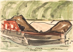 Red Barge II, Arthur Dove, 1932 ( Modernist Watercolor of Boat)