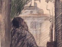 Man Seated at a Window, Joseph Stella, 1930  (Charcoal FIgurative Drawing)