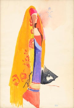 Woman with an Orange Shawl, Joesph Stella (Modernist Figurative Watercolour)