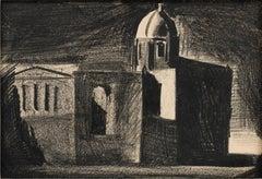 Studio di architetture urbane, Mario Sironi, 1924 (Charcoal Novecento Drawing)