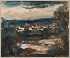 Landscape, Vlaminck (Post-Impressionist Seaside Town, 20th Century Watercolor)