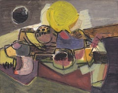 Landscape, Corneille, 1952 (abstract watercolor and gouache painting)