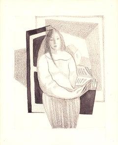 Femme au Livre/ Woman with a book, Juan Gris (Cubist Figurative Drawing)