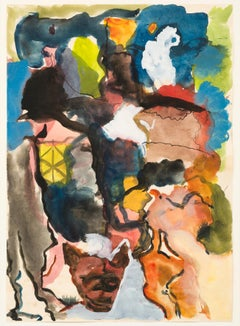 Untitled, René Daniëls, 1983 (colorful abstract watercolor)