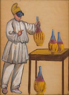 Pulcinella, Joseph Stella (Watercolor Figurative Work Early 20th Century)