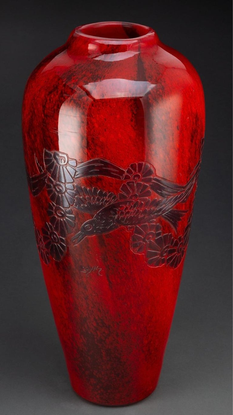 Art Deco Large Legras Cameo Glass Vase, personal property of Barbra Streisand For Sale 2