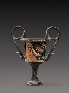 Apulian Terracotta Red Figured Kantharos Vase Ancient Greece circa 350-330 BC