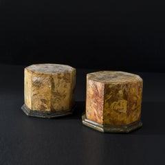 Pair of Italian Octagonal Jasper Marble Plinths / Pedestals 18th century