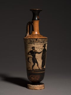 Attic Terracotta Black Figure Lehythos Vase Ancient Greece 5th Century BC