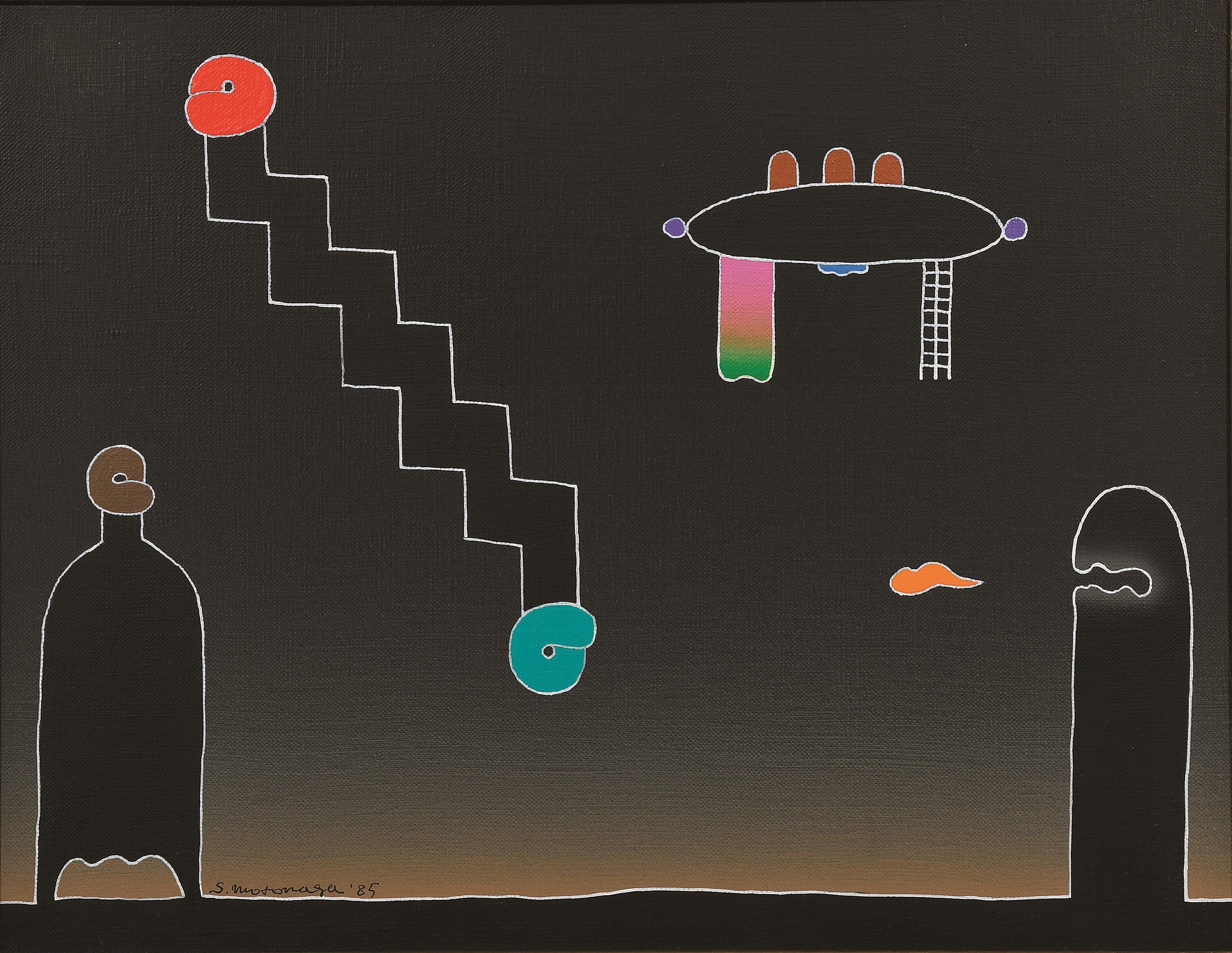 Like a stairway. Acrylic on canvas painting by Sadamasa Motonaga (1985)