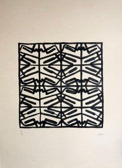 "Daniel Villela, ""Simetrías Modulares 1/4"", Abstract geometric, Ink on cotton"