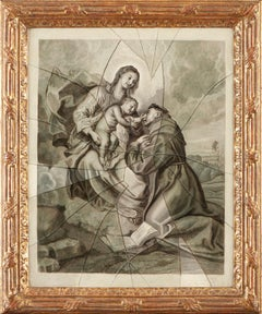 Trompe l'oeil. Madonna and Child St. Anthony , Old Master, 18th Century, French
