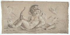 Allegory of Love, Amor, Old Master Drawing, 17th Century, Italian Art, Figurativ