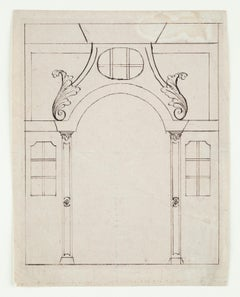 Sketch for an Architecture, Old Master Drawing, 17th Century, Italian Art