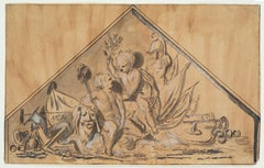 Allegory of Victory, 18th Century, Old Master Drawing, By De Wit, Figurative