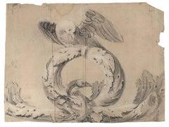 Oak leaf peace wreath with dove, Old Master Drawing, 17th Century, Italian Art