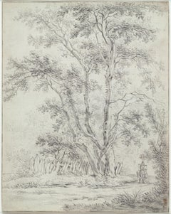 Landscape Drawing, Old Master, 17th Century, by Van Nikkelen, Dutch Golden Age