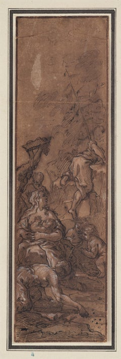 Italian Artist, Gathering of Manna. Old Master Drawing, 17th Century, Figurative