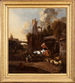 Southern Landscape, 17th Century Old Master, Figurative Painting by Van der Bent