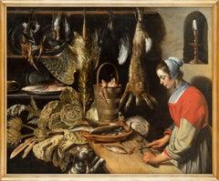Kitchen Still Life with Maid, Old Master, Attributed to Van Schooten