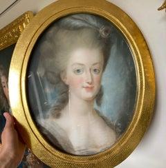 Portrait Queen Marie Antoinette, French School, Rococo, 18th Century, Oil Pastel