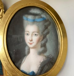 Portrait of a Lady, French School, Oval, Pastel, Rococo, 18th Century