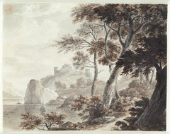 Southern Landscape, Ships, Old Master Drawing, 19th Century, by Von Stengel