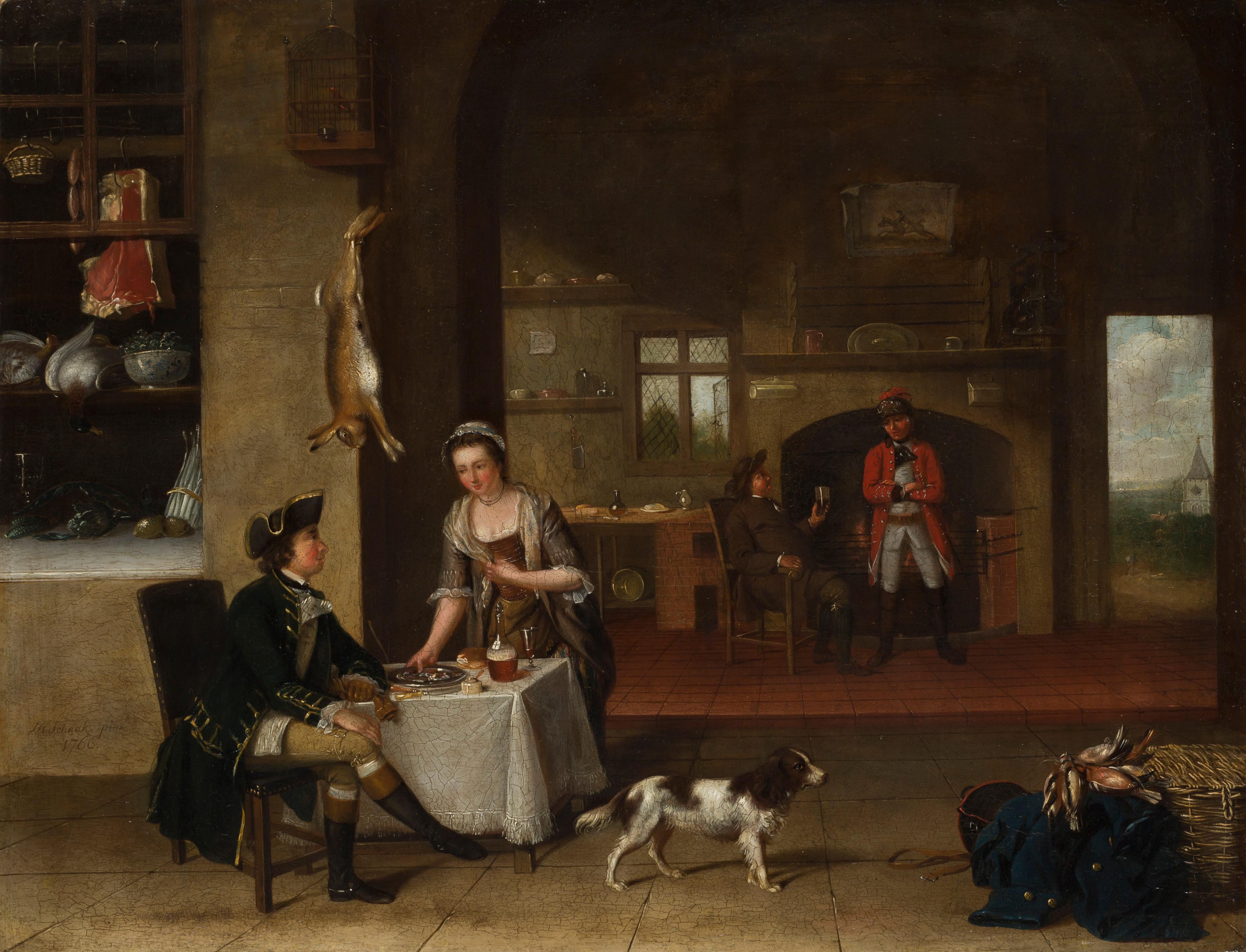 A Tavern Interior - 18th Century Old Master, Figurative Oil Painting by Schaak