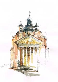 """""""Tempietto Barbaro"""" - Venice - Architectural Watercolor Painting - Turner"""