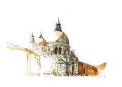 """""""Santa Maria della Salute"""" Venice - Architectural Watercolor Painting - Turner"""