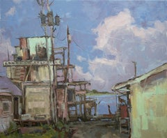 """Apalachicola, After Sunset"" Impressionist Plein Air Landscape Painting - Wyeth"