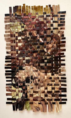 'Hair Weave Woobie (Bangs)' - woven paper collage - Eva Hesse