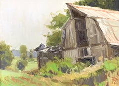 """Emerging"" - Impressionist Plein Air Landscape Painting - Barn - Wyeth"