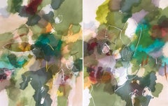 """Arboretum Diptych"" - Nature-based Color Field Abstract Painting - Joan Mitchell"